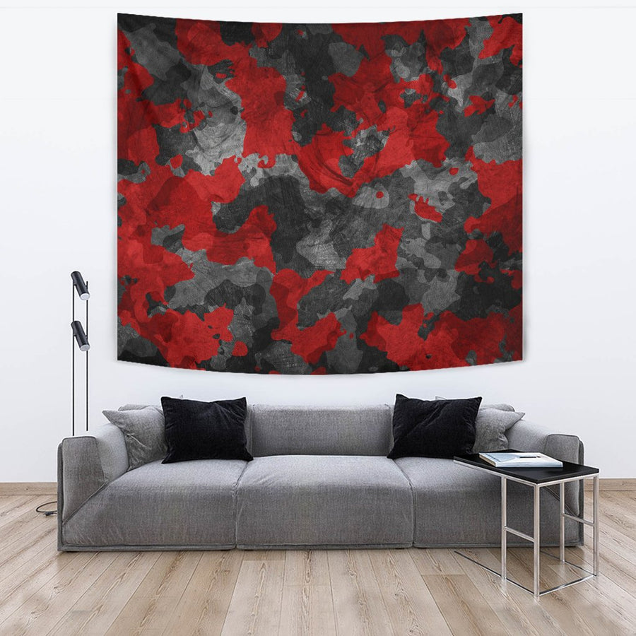 Black And Red Camouflage Print Wall Tapestry GearFrost