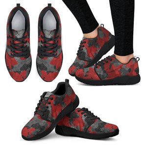 Black And Red Camouflage Print Women's Athletic Shoes GearFrost