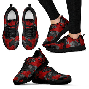 Black And Red Camouflage Print Women's Sneakers GearFrost