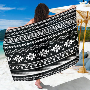 Black And White Aztec Pattern Print Beach Sarong Wrap GearFrost