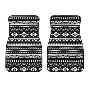 Black And White Aztec Pattern Print Front Car Floor Mats GearFrost