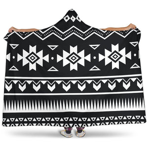 Black And White Aztec Pattern Print Hooded Blanket GearFrost