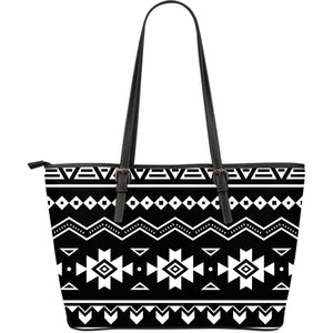 Black And White Aztec Pattern Print Leather Tote Bag GearFrost