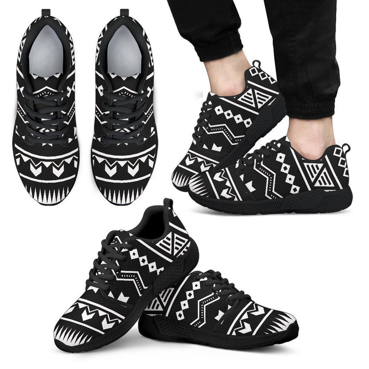 Black And White Aztec Pattern Print Men's Athletic Shoes GearFrost