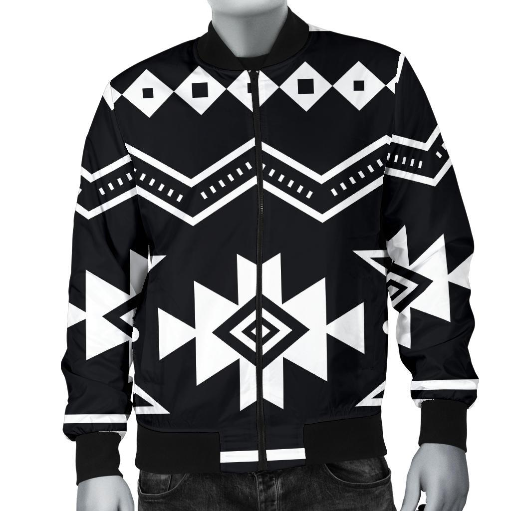 195036be7 Black And White Aztec Pattern Print Men's Bomber Jacket – GearFrost