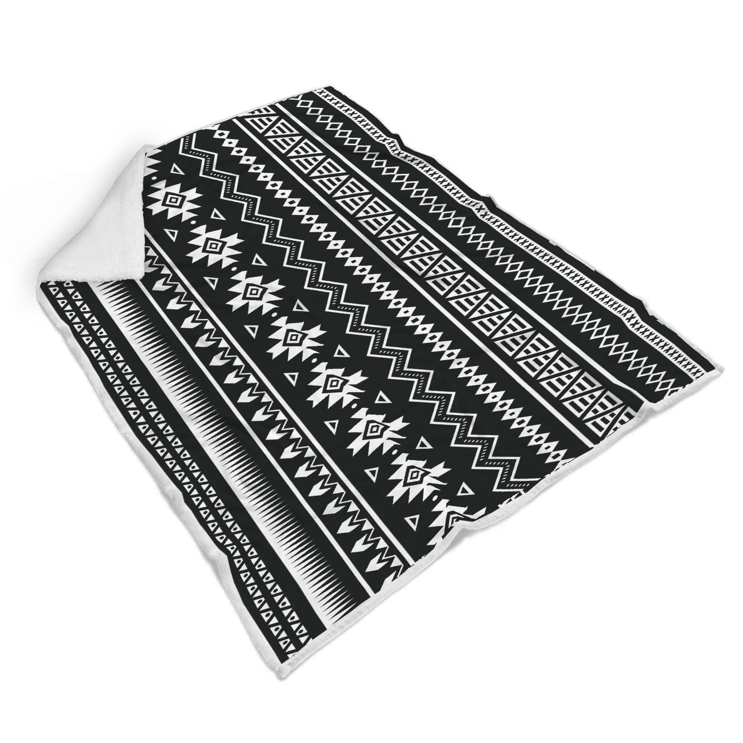 Black And White Aztec Pattern Print Sherpa Blanket GearFrost