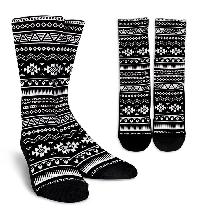Black And White Aztec Pattern Print Unisex Crew Socks GearFrost