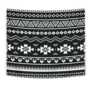 Black And White Aztec Pattern Print Wall Tapestry GearFrost