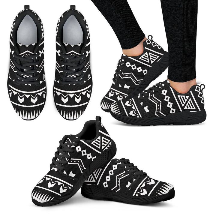 Black And White Aztec Pattern Print Women's Athletic Shoes GearFrost