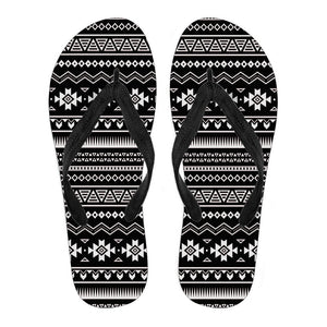 Black And White Aztec Pattern Print Women's Flip Flops GearFrost