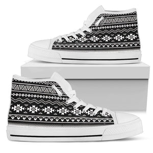 Black And White Aztec Pattern Print Women's High Top Shoes GearFrost
