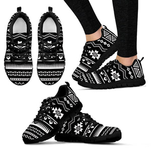 Black And White Aztec Pattern Print Women's Sneakers GearFrost