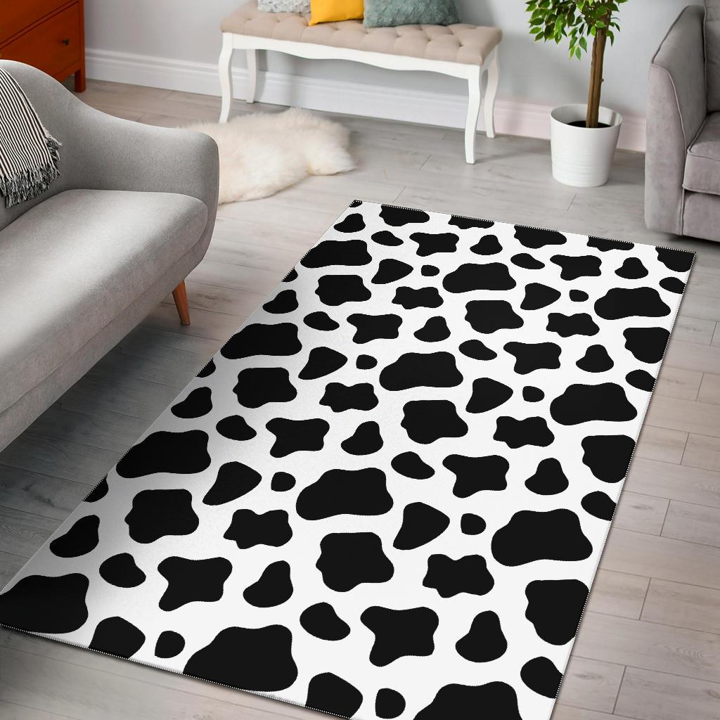 Black And White Cow Print Area Rug GearFrost