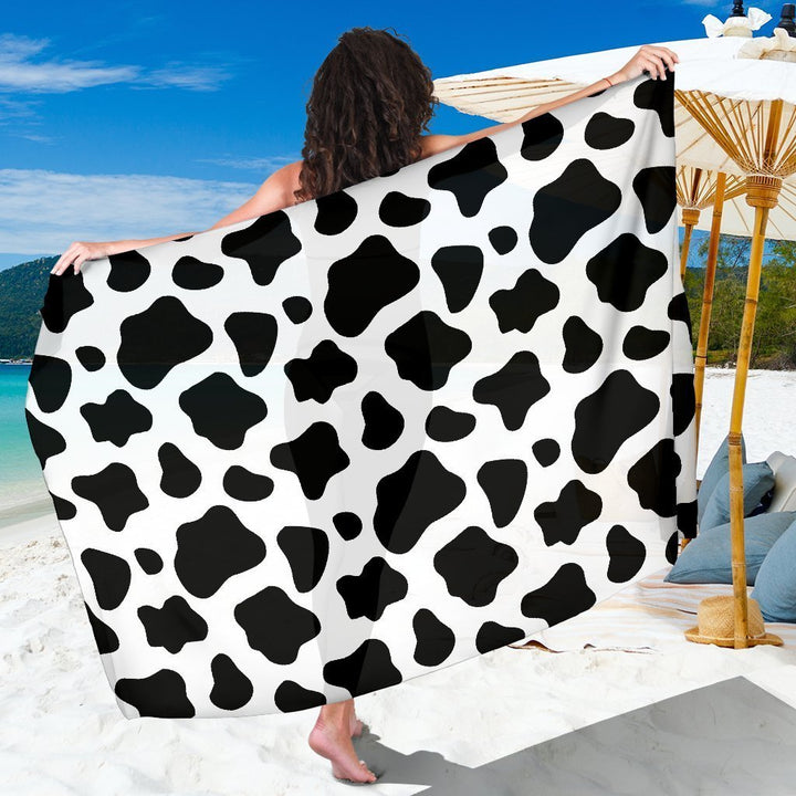 Black And White Cow Print Beach Sarong Wrap GearFrost