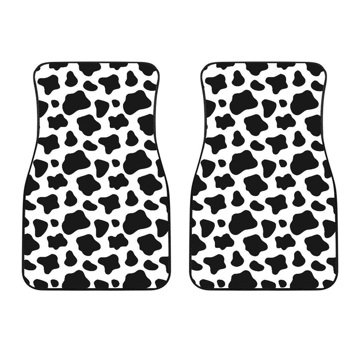 Black And White Cow Print Front Car Floor Mats GearFrost