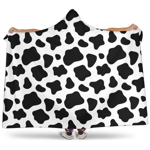 Black And White Cow Print Hooded Blanket GearFrost