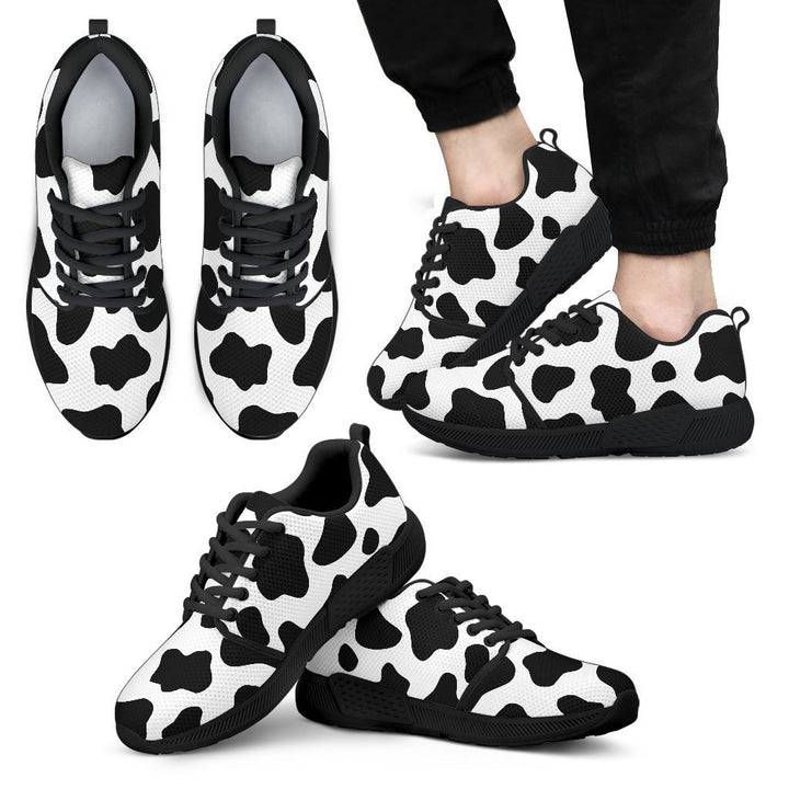 Black And White Cow Print Men's Athletic Shoes GearFrost