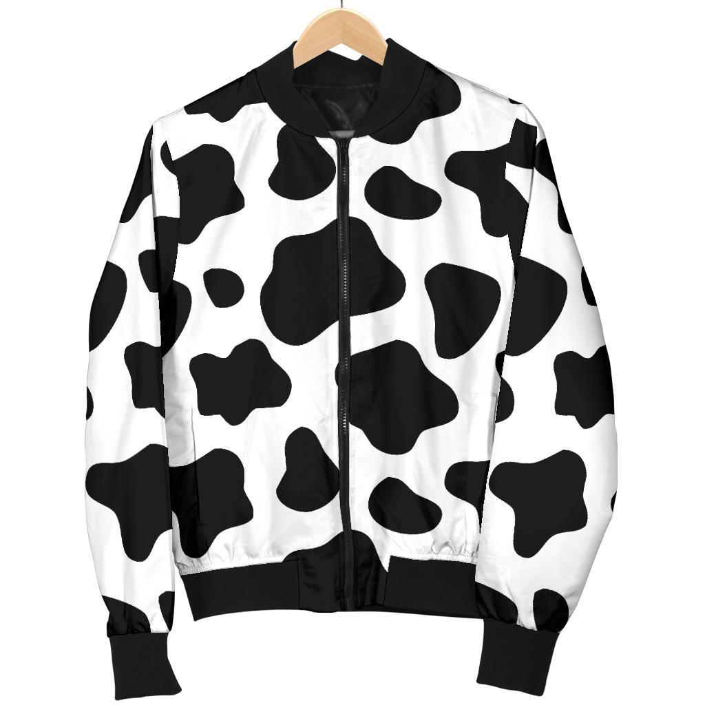 Black And White Cow Print Men's Bomber Jacket GearFrost