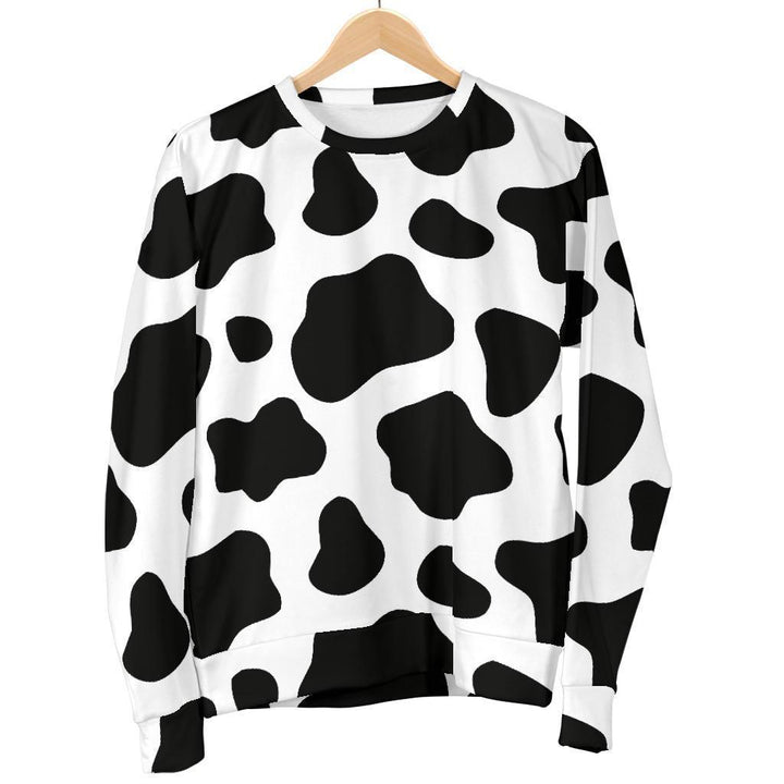 Black And White Cow Print Men's Crewneck Sweatshirt GearFrost