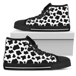 Black And White Cow Print Men's High Top Shoes GearFrost