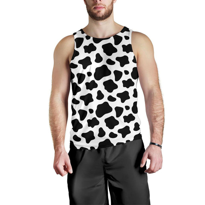 Black And White Cow Print Men's Tank Top GearFrost