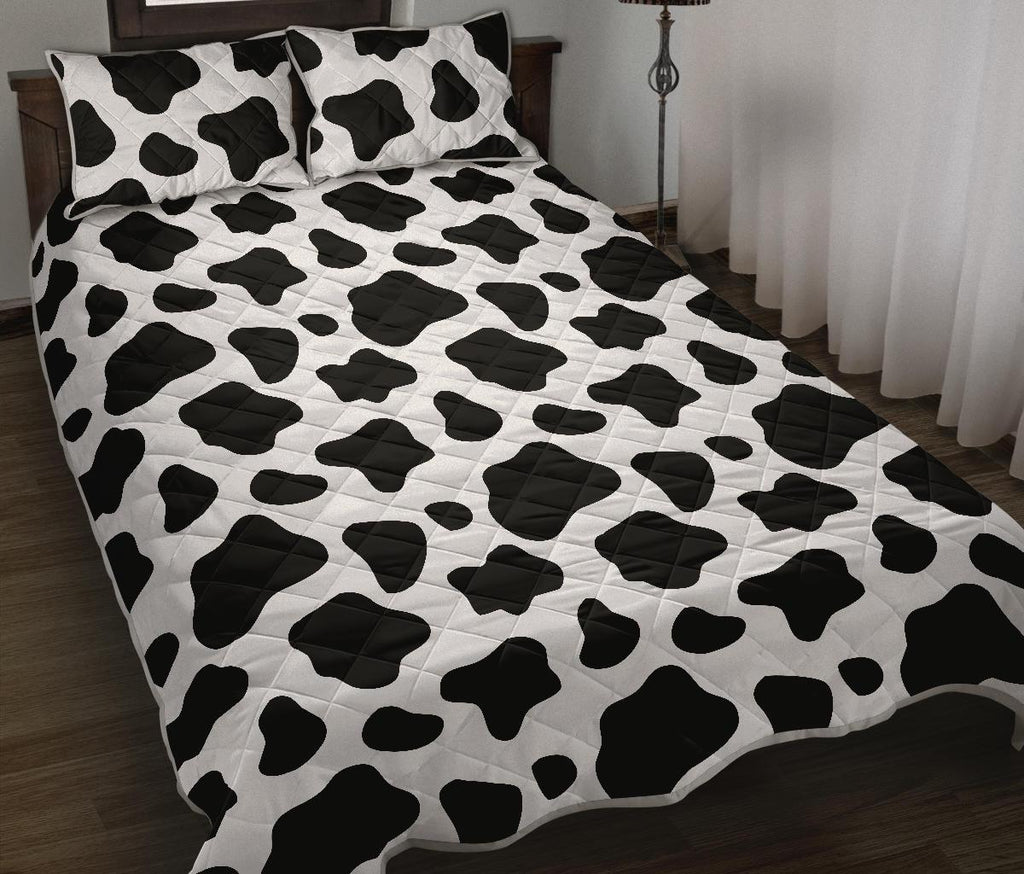Black And White Cow Print Quilt Bed Set GearFrost