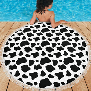 Black And White Cow Print Round Beach Blanket GearFrost