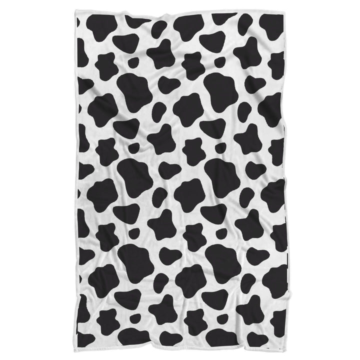 Black And White Cow Print Sherpa Blanket GearFrost