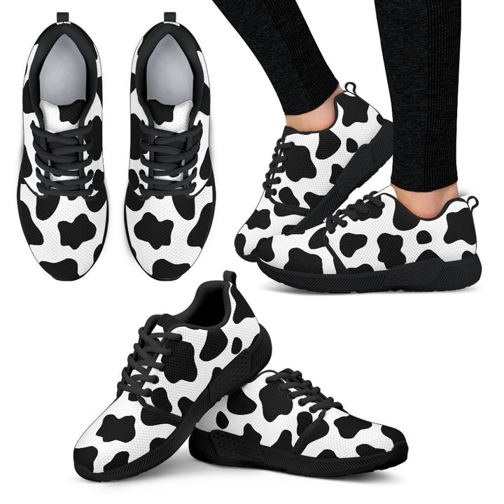 Black And White Cow Print Women's Athletic Shoes GearFrost