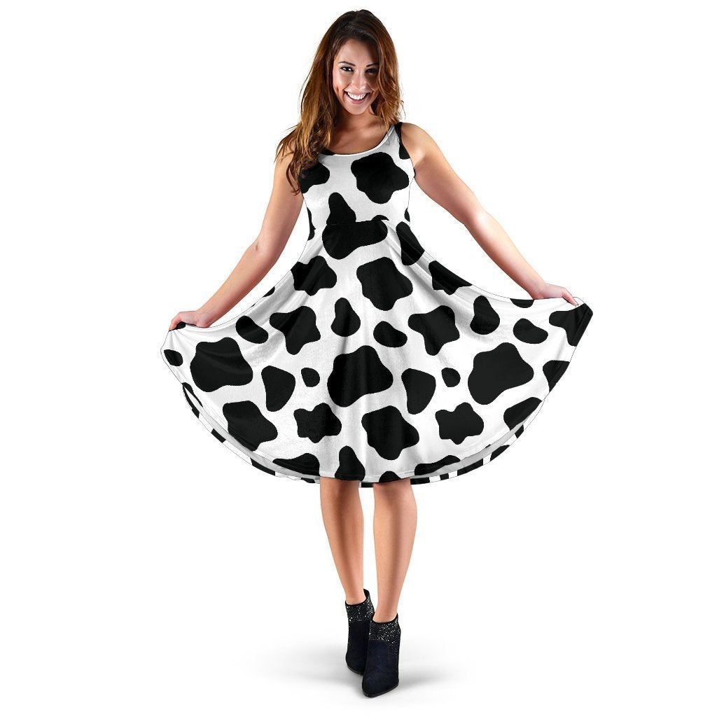 Black And White Cow Print Women's Dress GearFrost