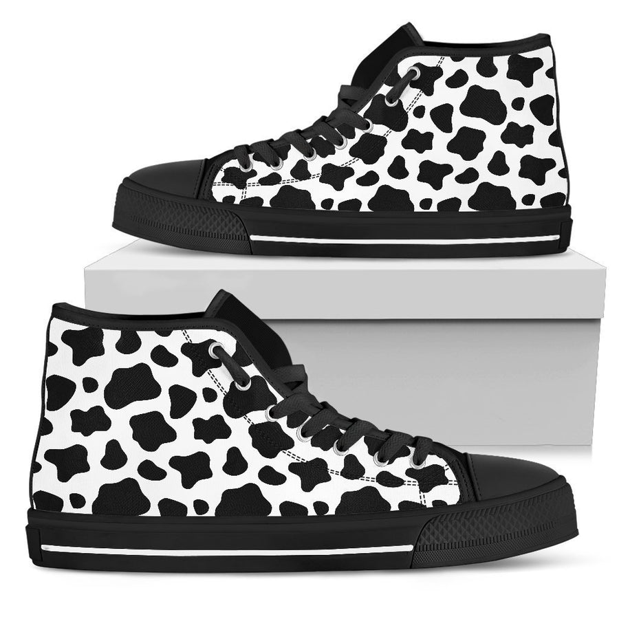 Black And White Cow Print Women's High Top Shoes GearFrost