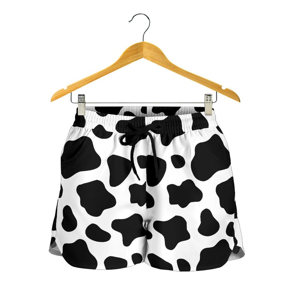 Black And White Cow Print Women's Shorts GearFrost