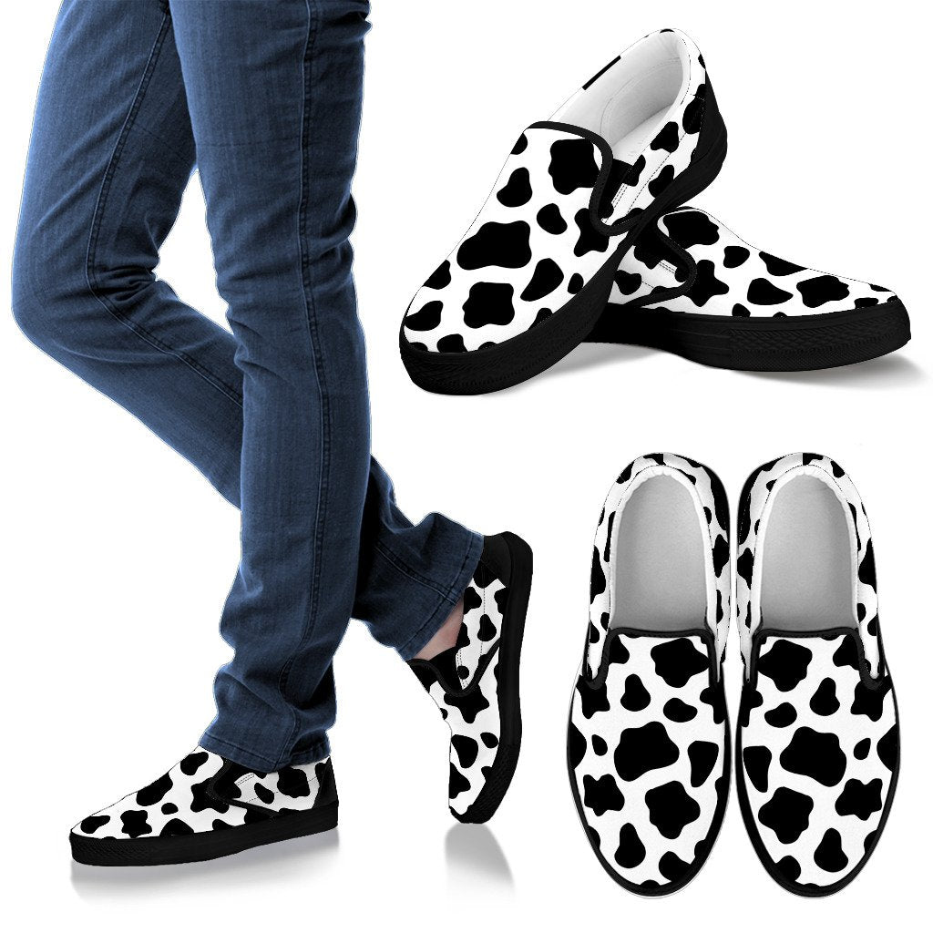 Black And White Cow Print Women's Slip On Shoes GearFrost