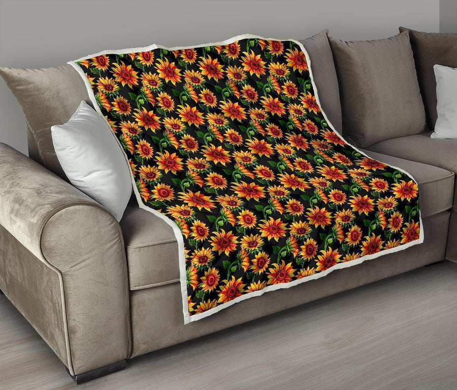 Black Autumn Sunflower Pattern Print Quilt GearFrost