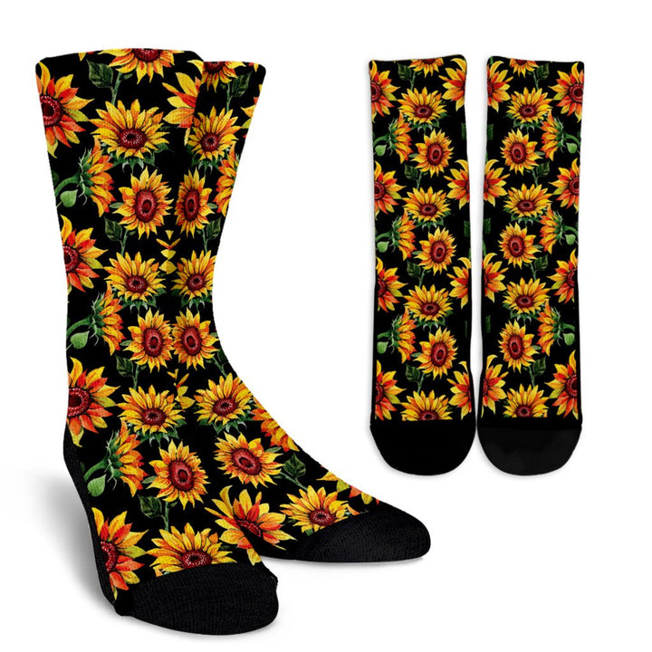 Black Autumn Sunflower Pattern Print Unisex Crew Socks GearFrost