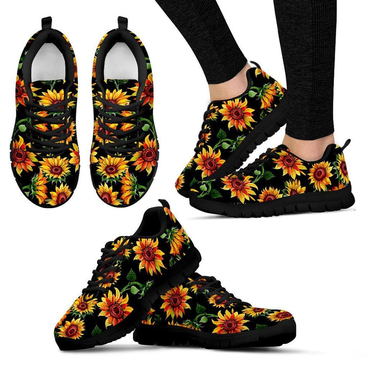 Black Autumn Sunflower Pattern Print Women's Sneakers GearFrost