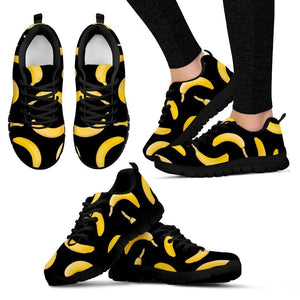 Black Banana Pattern Print Women's Sneakers GearFrost