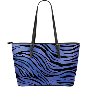 Black Blue Zebra Pattern Print Leather Tote Bag GearFrost
