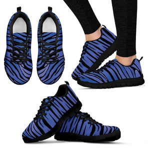 Black Blue Zebra Pattern Print Women's Sneakers GearFrost