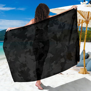 Black Camouflage Print Beach Sarong Wrap GearFrost