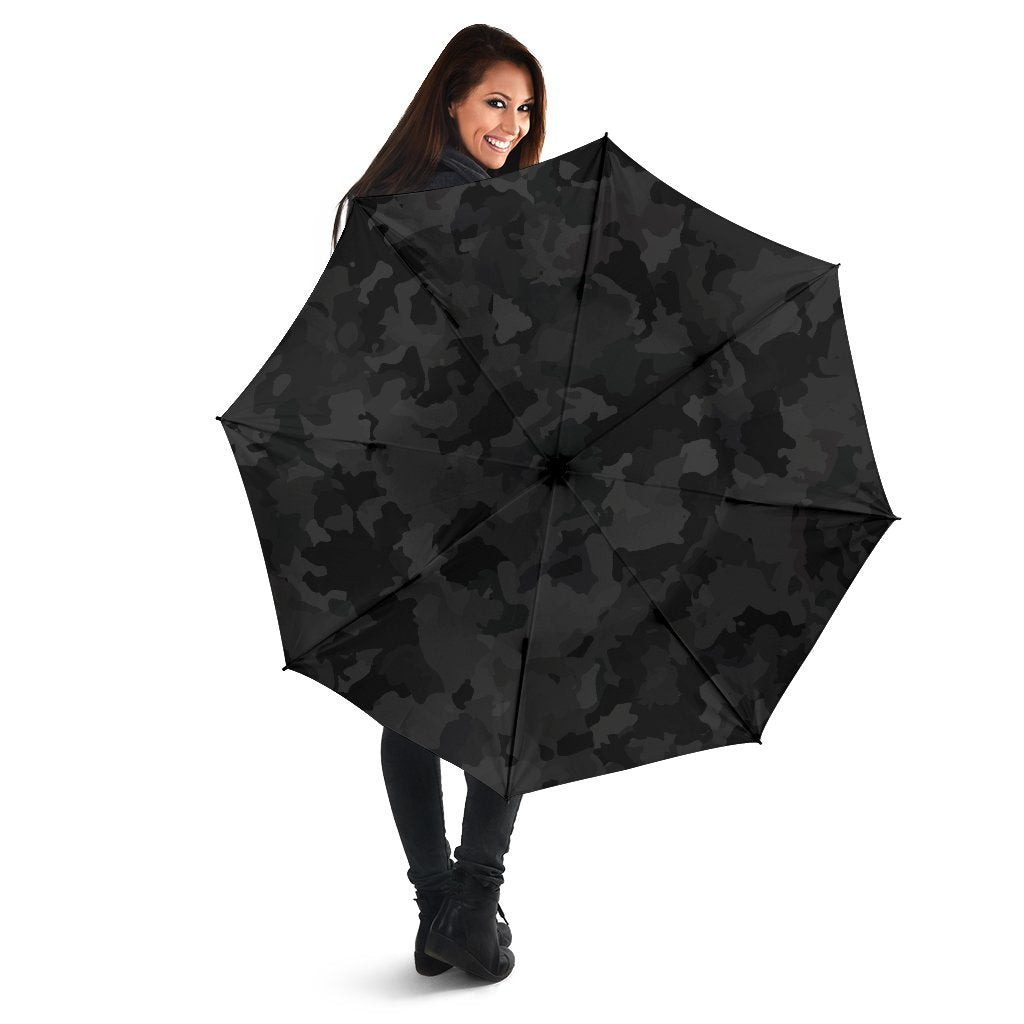 Black Camouflage Print Foldable Umbrella GearFrost
