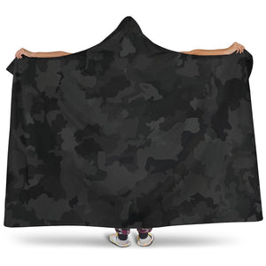 Black Camouflage Print Hooded Blanket GearFrost