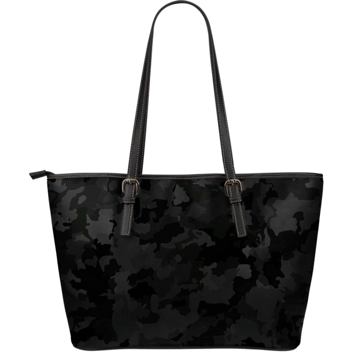 Black Camouflage Print Leather Tote Bag GearFrost