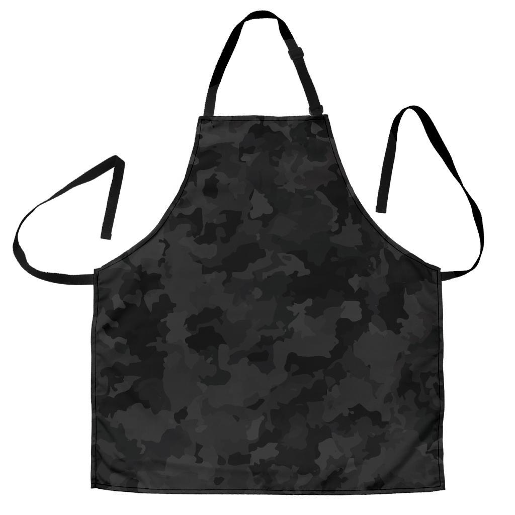 Black Camouflage Print Men's Apron GearFrost