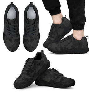 Black Camouflage Print Men's Athletic Shoes GearFrost
