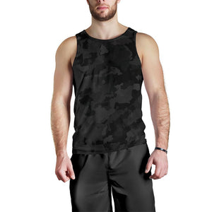 Black Camouflage Print Men's Tank Top GearFrost
