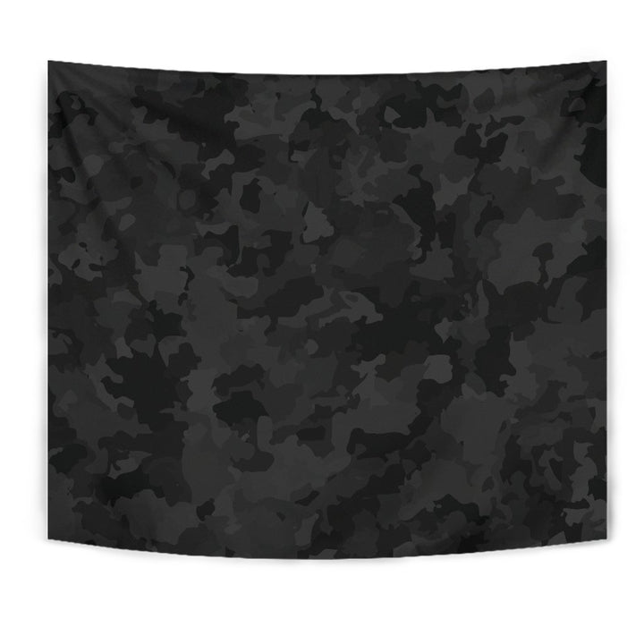Black Camouflage Print Wall Tapestry GearFrost