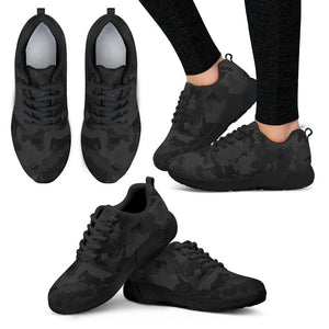 Black Camouflage Print Women's Athletic Shoes GearFrost