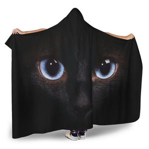 Black Cat Eyes Print Hooded Blanket GearFrost
