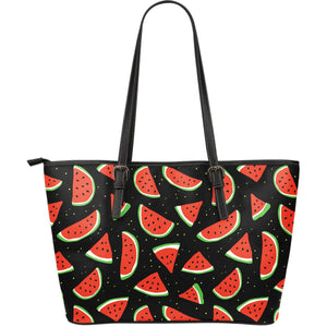 Black Cute Watermelon Pattern Print Leather Tote Bag GearFrost